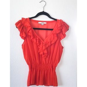 Forever XXI Ruffled V Neck Cinched Waist Blouse